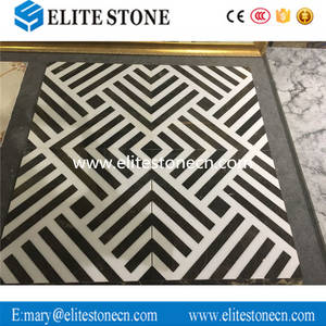Wholesale marble: Hotel Hall Decoration Unique Design Black and White Marble Waterjet Tile