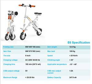Wholesale foldable smart bike: Wholesale Airwheel E6 Smart Foldable Electric Bike with Lithium Battery