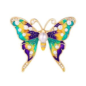 Wholesale Costume & Fashion Jewelry: Enamel Pins UK Vintage Enamel Butterfly Pins with Rhinestone