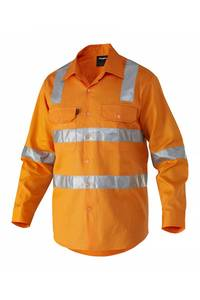 Wholesale hi vis shirt: Reflective Hi Vis Long Sleeve Cotton Drill Industrial Work Shirt