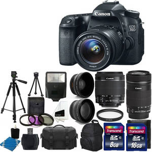 Wholesale hd digital camera: Canon EOS 70D Digital SLR Camera Full HD 1080p Video + EF-S 18-55mm F3.5-5.6 IS STM + 55-250mm STM I