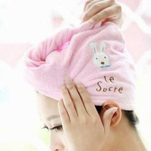 Wholesale fast drying towel: Cute Hair Soft Microfiber Towel Solid Fast Hair Dry Hat Women Ladies Girls CAP Bath Accessories Drie