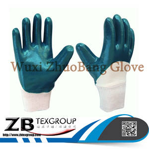 Wholesale nitrile palm coated gloves: Top Quality Seamless Nylon 3/4 Nitrile Coated Oil Resistant Hand Work Gloves Price