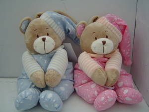 Wholesale baby musical toy: Baby Bear Plush Toy with Cap and Music