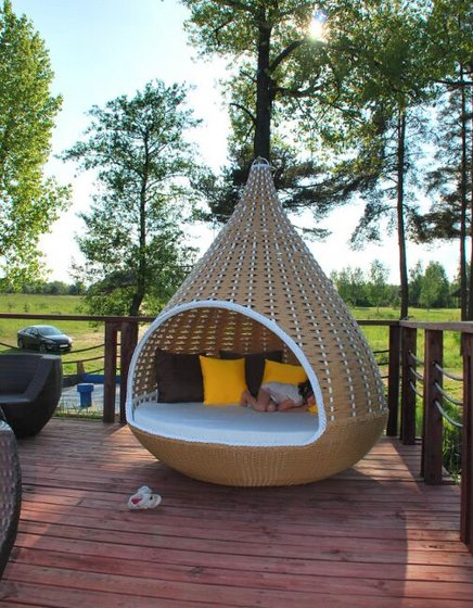 Wicker Hanging Bed Outdoor Swing Sets for Adults Swing ...
