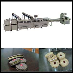Wholesale cream biscuit: Double Color Sandwiching Machine with Packaging Machine