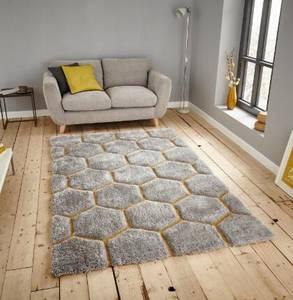 Wholesale Carpet & Rug: Grey Flower Design Shag Carpet Soft Area Rug