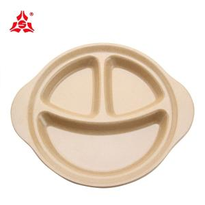 Wholesale hand hygiene: Husk's Ware Eco Friendly Rice Husk Fiber Made Three Grid Smiling Face Dinner Plate