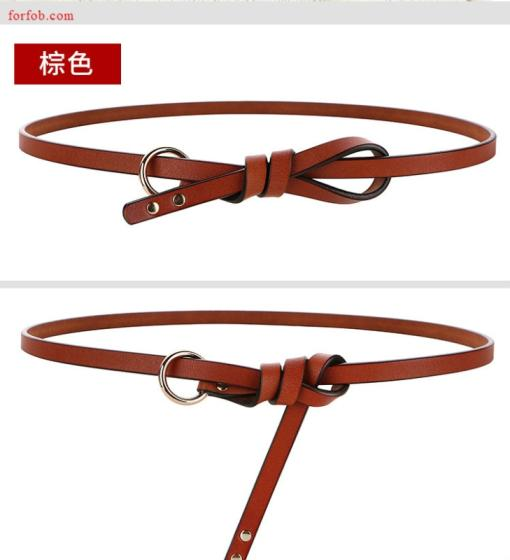 Fashion Women Lady Waistband PU Leather Thin Skinny Belt Metal Buckle Belt