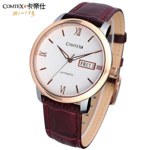 Wholesale men's watches: Four Colors COMTEX Luxury Men's Automatic Mechanical Watch 3ATM Waterproof Leather Strap Wrist Watch