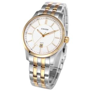 Wholesale wrist bracelet: Comtex Men's Quartz Analog Wrist Watch with Gold Dial Stainless Steel Bracelet Waterproof