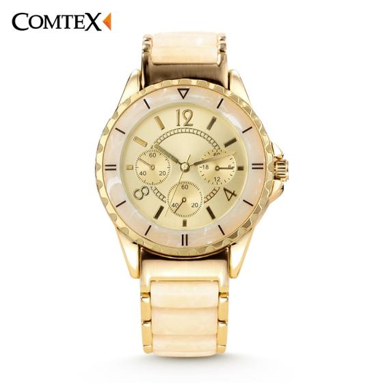 Comtex Women's Quartz Wristwatch with Gold Dial Alloy Band Vogue Business Casual Watch
