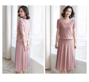 Wholesale knit tee: Women Elegant V-neck Short Sleeve Beaded Two-Pieces Suits with Knitted Tee and Long Skirt