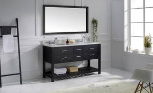 Wholesale ceramic border: Espresso Double Modern Bathroom Vanity with shelf, Quartz Countertop Bathroom vanity (TRE005)