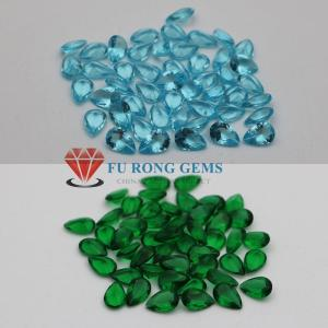 Wholesale cz loose stone: Glass Gemstones Emerald Green Blue Sapphire Aqua Blue Glass Stones Wholesale From China