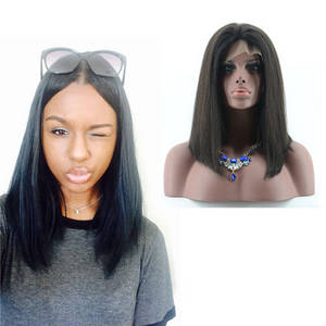 Wholesale full lace front wigs: Glueless Bob Style Sliky Straight Natural Full Lace and Lace Front Wig in Stock