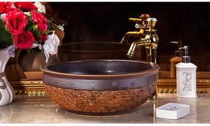 Wholesale ceramic basin: Jingdezhen Gucheng Restaurant Handmade Small Cheap Hand Wash Basin Bathroom Ceramic Vessel Sink