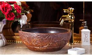 Wholesale ceramic basin: European Style Handmade Luxury Wash Hand Basin Bathroom Ceramic Vessel Sinks