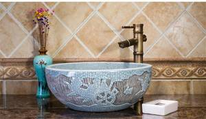 Wholesale paint: Hand Painting Wash Basin Antique Countertop Bathroom Ceramic Vessel Sinks