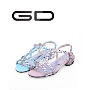 Wholesale beaded shoes: GD Rhinestones Ladies Flat Shoes Sequined Beaded Sandals