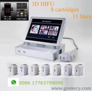 Wholesale ultrasonic screen: GOMECY CE/ISO/TUV/RoHS Approved New Invention One Shot 11 Lines 3D HIFU Machine with 8 Cartridges
