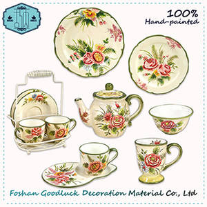 Wholesale dinnerware: FDA Beautiful Hand Painted Ceramic Rose Design Dinnerware Sets
