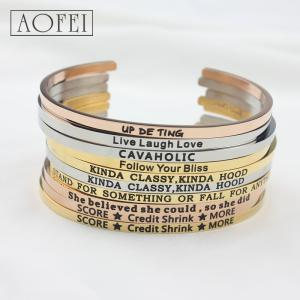 Wholesale stainless steel bracelet: Wholesale Amazon Dw Stainless Steel Cuff Jewelry Message Bangles Engraved Inspirational Bracelets
