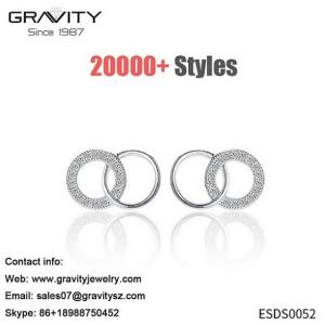 Wholesale zircon ring: thin Round Circle Shaped Hoop Design Copper Alloy Korea 925 Sterling Silver Elegant Stud Earrings