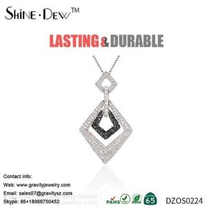 Wholesale necklace: Wholesale White Gold Plated New Style Black Crystal Party Pendant Necklace Jewelry Set for Woman