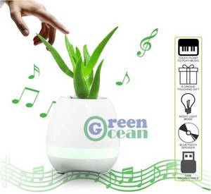 Wholesale smart pot: Smart Music Flower Pot Play Piano Bluetooth Speaker LED Flowerpot