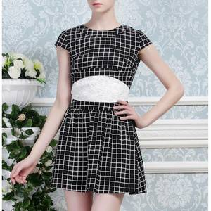 Wholesale lace trim: Black and White Check Overlay Dress with White Lace Trimmed Waistband J4266L