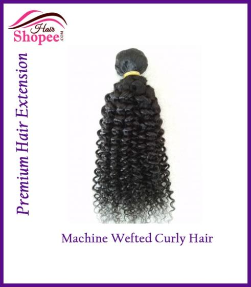 Machine Wefted Curly Hairs - HairShopee Remy Indian Human Hairs