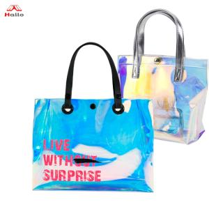 Wholesale plastic shopping bag: Personalized Large Plastic Beach Bag Summer Laser PVC Travel Bag Lady Shopping Shoulder Hand Bag