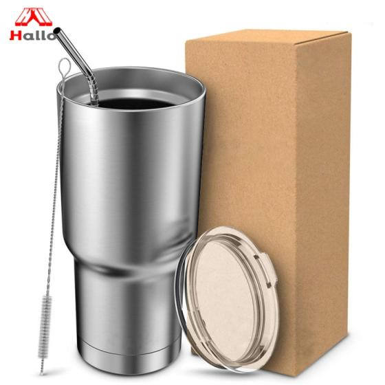 Stainless Steel Sipper Double Wall Coffee Office 30 Oz Insulated Cups Tumbler with Straw