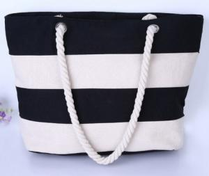 Wholesale shopping bag machine made: Black N White Rope Handle Canvas Shopping Tote Bag