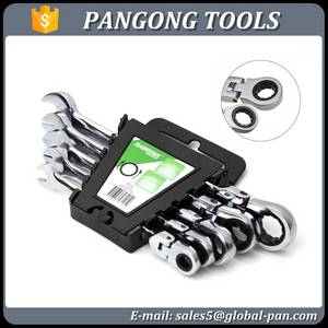 Wholesale geared head: 5 Piece Combination Flexible Head Ratchet Wrench Gear Wrench Ratchet Sapnner Set