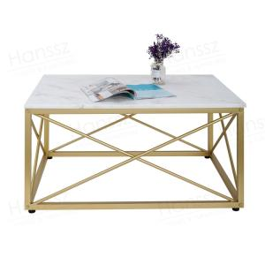 Wholesale quartz countertops vanity: Rectangular Golden Metal Base White Marble Top Coffee Table for Living Room