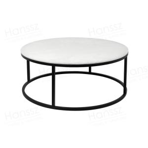 Wholesale coffee table: Round Shape Black Coated Metal Frame Mystery White Marble Top Living Room Coffee Table
