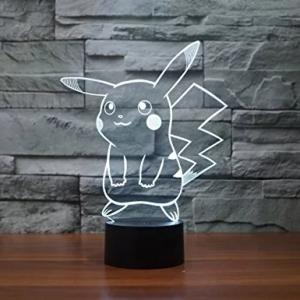 Wholesale touch light: Pokemon Pikachu 3D LED Night Light 3D Optical Illusion Visual Lamp 7 Colors Touch Table Desk Lamp