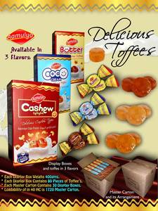 Wholesale sweet: Chocolates / Sweet Butter Toffees / Cashew Toffees / Cream Toffees / Confectionery
