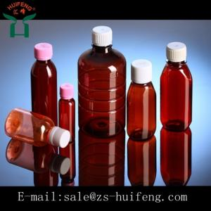 Wholesale bottle packaging: 120ml 4oz PET Amber Plastic Oral Liquid  Bottle Medical Packaging Bottle with Scale