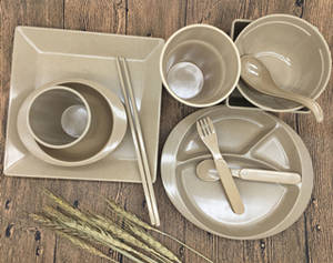 Wholesale tableware set: Eco Friendly Rice Husk Dinner Set Biodegradable Tableware