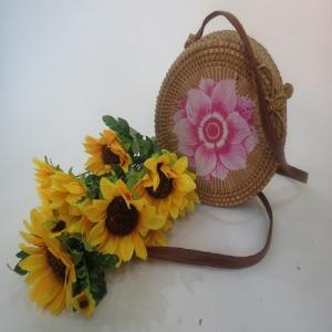 Wholesale shoulder bags: Vietnam Rattan Bags with Leather Shoulder Strap Oval Design