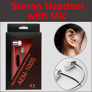 Wholesale stereo headset: Super Bass-Driven Stereo Headset with Mic [AEM-100]