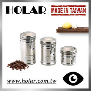 Wholesale stainless steel staple: [Holar] Taiwan Made Airtight Stainless Steel Food Storage Container Canister with Lid