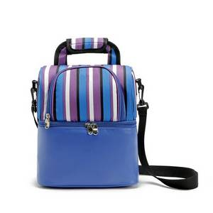 Wholesale portable cooler bag: Striped Messenger Food Picnic Ice Cooler Bag with Handle