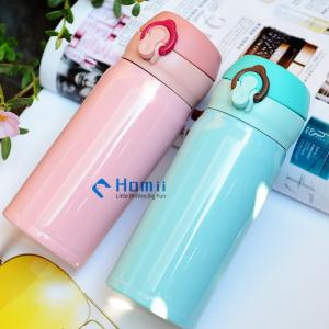 Wholesale insulated vacuum flask: Hangzhou Homii Industry 500ml Travel Coffee Flask Stainless Steel Vacuum Insulated Push Botton Drink
