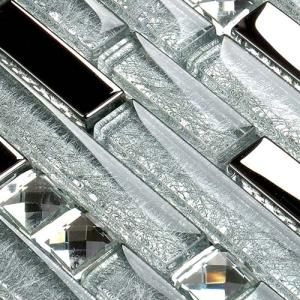 Wholesale crystal clear: Silver Coated Glass Tile Rhinestone Mosaic Clear Crystal Backsplash Wall Tiles