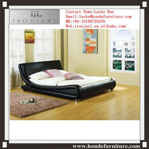 Wholesale leather bed: European Style  Curve Shape Faux Leather Bed