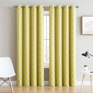 Wholesale window curtain: Lattice Print Thermal Insulated Blackout Room Darkening Window Drapery Curtains for Bedroom